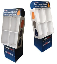Recycled carton merchandise display racks