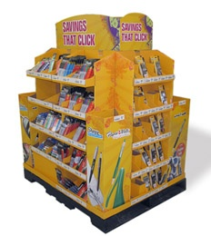 Corrugated material store display racks for stationery