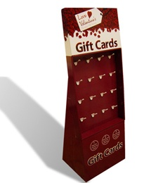 Gift cards display carton board